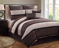 "Multiple Colors - 8pc Luxury Bedding Set - CMBG. Brown/Taupe/Black - Comforter Set - King by BlowOut Bedding. $85.99. 1 Square Pillow. 8 Piece Luxury Bedding Ensemble Available in Both King & Queen Sizes. 1 Comforter 104"" x 90"". King Size Includes:. 100% Polyester. Machine Washable. 2 Pillow Shams 20 x 38"". Click here to see all of our bedding sets, curtains, and pillows.. 1 Breakfast Pillow. 2 Euro Shams 26 x 26"". 1 Skirt 78"" x 80"" x 14"". 8 Piece Luxury Bedding ..."