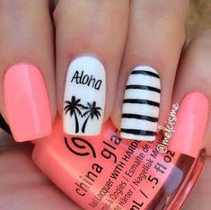 Palm trees & stripes nail art in 2019 ongles adolescent, idées vernis à Nail Art Designs 2016, Cute Nail Art Designs, Pretty Designs, Teen Nail Designs, Anchor Nail Designs, Awesome Designs, Hawaii Nails, Beach Nails, Aloha Nails