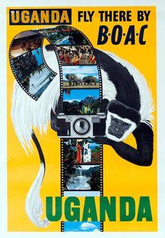 Uganda Fly There By BOAC Original Travel Poster Photo Safari