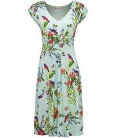 """Simply stunning, this is our buyer, Caroline's favourite dress of the season. In jersey fabric, with a simple V-neck and front pleats, it's perfect for casual summer occasions. Approx Length: 102cm Our model is: 5'7"""""""