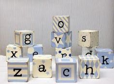 """Baby wooden Blocks 4"""" X 4""""  painted with graphics with letters and numbers. $30.00, via Etsy."""