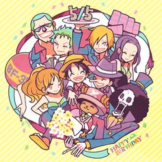 Straw hats pirate crew Monkey D. Luffy, Tony Tony Chopper, Roronoa Zoro, Sanji, Brook, Usopp, Nami, Franky, Nico Robin One piece