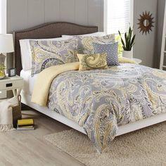 Better Homes and Gardens 5-Piece Bedding Comforter Set, Yellow Grey Paisley - Walmart.com