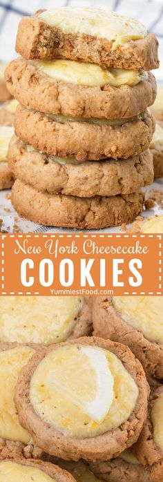 You will love this easy New York Cheesecake Cookies recipe from the scratch - crispy cookies topped with light refreshing cream cheese and lemon cream! #desserts #dessertfoodrecipes #cookies #easycookies #cookierecipes #cheesecakecookies