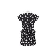 Black White Floral Baggy Pockets Dress - Syala Collections via Polyvore featuring dresses, floral printed dress, floral print dress, black and white floral dress, flower printed dress and black white dress