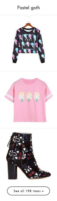 """Pastel goth"" by annaakaeller on Polyvore featuring tops, hoodies, sweatshirts, sweaters, shirts, multicolor, sweat shirts, long sleeve sweatshirt, colorful crop tops and colorful sweatshirts"