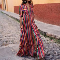 BOHO Button Down Collar Stripes Roll Up Sleeve Maxi Vacation Dresses modest maxi dress modest dress modest maxi dress formal maxi dress summer maxi dress modesty maxi dress casual boho maxi dress maxi dress outfit Maxi Shirts, Maxi Shirt Dress, Maxi Dress With Sleeves, Short Sleeve Dresses, Dress Shawl, Shirtdress Outfit, Short Sleeves, Half Sleeves, Floral Shirts