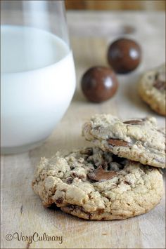 Malted Milk Ball Cookies — Very Culinary Cookie Desserts, Fun Desserts, Delicious Desserts, Dessert Recipes, Yummy Food, Cookbook Recipes, Galletas Cookies, Milk Cookies, Baking Cookies