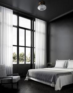 Quarto preto e minimalista  (Foto: Ruben Ortiz/ divulgação)