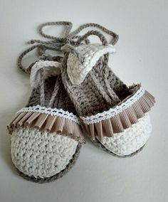 Alpargatas en crochet para bebés. 100% algodón. x