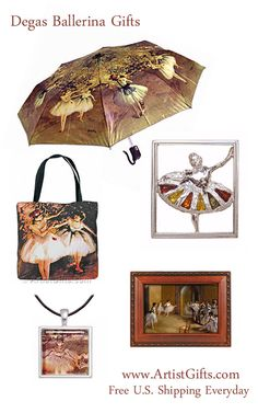 Find fun and unique Degas Ballerina Gifts including umbrellas, tote bags, ballerina music boxes and ballerina jewelry at www.ArtistGifts.com.  Free Shipping Everyday with No Minimum!