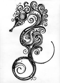Seahorse by Brian Jetton (inspired by Si Scott.) Medium Sharpie on 60 lb. drawing paper.