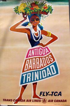Antigua, Barbados, Trinidad - Fly Trans Canada Airlines vintage travel poster