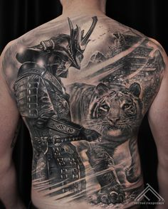 Completely healed, detailed black and gray tattoo on mans back. - Completely healed, detailed black and gray tattoo on mans back. Backpiece Tattoo, Irezumi Tattoos, Forearm Tattoos, Body Art Tattoos, Hand Tattoos, Sleeve Tattoos, Chest Tattoo, Tattoo Art, Back Tattoos For Guys