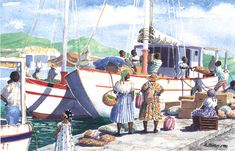 Island Cargo by Anne Miller, x watercolour print Watercolor Print, Caribbean, Island, Watercolours, Gallery, Boats, Painting, Sea, Roof Rack