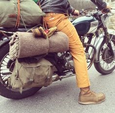 """Ok so the pants are way to tight for biking...I'm sure the """"boy's"""" are very uncomfortable. On the other hand those army throw-over saddlebags are way cool !"""