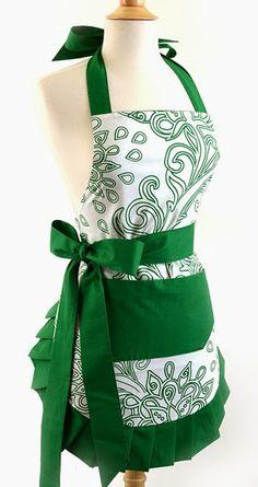 Green Goddess Retro Vintage Apron ... #wedding wishlist #bridal shower gift