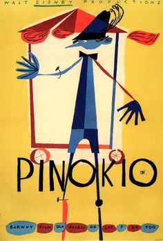 """Author : Kazimierz Mann Poster : """"PINOKIO"""", 1962 A1 vertical = 23"""" x 33"""" (58.5 x 84 cm), color offset Recent gallery price : $ 750 Film : """"Pinocchio"""", US (Disney), 1940 Animated feature directed by Hamilton Luske & Ben Sharpsteen"""