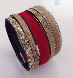 Bracelet manchette en cuir, fait-main