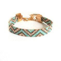 Bracelet perles miyuki tissé fin or, turquoise et bronze fermoir mousqueton