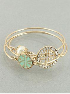 Set of 3 Mint and Goldtone Cross Bangle by JewelJunkieShop on Etsy, $22.99 #jewelry #bangles #alldayeveryday