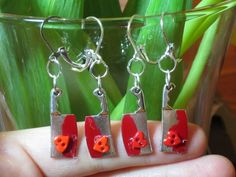 Love You to Death Valentine Sterling Plated Pierced Earrings | evezbeadz - Jewelry on ArtFire