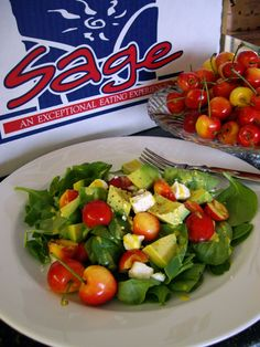Fresh Spinach, Avocado, Rainier Cherry and Feta Salad With Cherry Dijonnaise Dressing Sage Fruit Company / Adrienne Meier