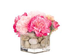 """Natural Decorations, Inc. - Pink Peony Rockbed Watergarden in Small Glass Cube. Presented by NDI to Marisa Marcantonio at StyleBeat as a thank you for her collaboration in designing an NDI arrangement for Christina Murphy, in honor of her inclusion in this year's 10 New Trads - Traditional Home's annual, signature """"hot list"""" of designers to watch!"""