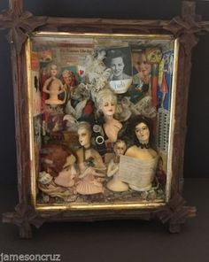 Antique-Folk-Art-1930s-Diorama-Gossip-Boudoir-Dolls-Wood-Box-Toys-Ephemera
