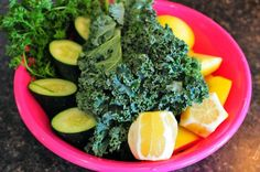 {Mean Green Juice}    Mean Green #2 - from the movie Fat, Sick & Nearly Dead.  Ingredients  6    Stalks of Kale  2    Cucumber  2    Small Handfuls of Parsley  4    Golden Delicious Apples  2    Lemons (peeled)  2    Small Handfuls of Spinach