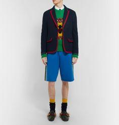 3f2835af2de Gucci - Blue Cambridge Contrast-Tipped Stretch Wool and Cotton-Blend Blazer