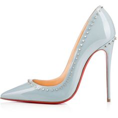 Anjalina 120mm Horizon Silver Patent Leather (2.500 BRL) ❤ liked on Polyvore featuring shoes, pumps, heels, louboutin, sapatos, patent shoes, christian louboutin shoes, miniature shoes, christian louboutin pumps and patent leather shoes