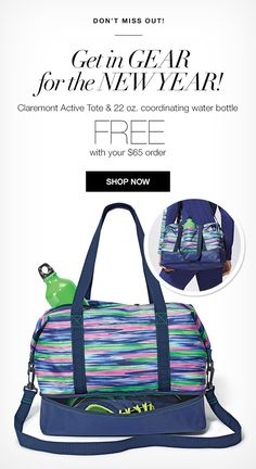 Gear up for the New Year with Avon FREE gift with purchase! Be the first to  get the Claremont Active Tote and coordinated Water Bottle FREE. 38736c2c337eb