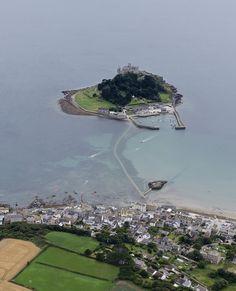 St Michael's Mount in Cornwall UK aerial image   by John Fielding #stmichaelsmount #castle #abbey #cornwall #coast #aerial