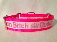 Nylon w/Queen Bitch Ribbon Martingale or by DogCollarsByDesign, $10.75