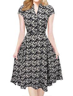 iLover Women V-Neck Cap Sleeve Floral Vintage Rockabilly Swing Dress with  Pockets Cap Sleeves 581181d34232