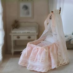 Miniatures for Dolls Houses Baby Doll Bed, Baby Doll Nursery, Baby Room, Baby Dolls, Miniature Furniture, Doll Furniture, Dollhouse Furniture, Dollhouse Dolls, Miniature Dolls