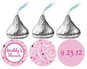 108 Baby Shower Hershey Kiss Stickers - Personalized Pink Swirl Damask candy labels for Party Favors