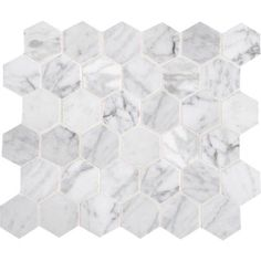 Classic Stone in a fun cut for feature wall and shower  STONE MOSAICS NATURAL STONE  CARRARA WHITE 2 X 2 HEXAGON MOSAIC POLISHED M701