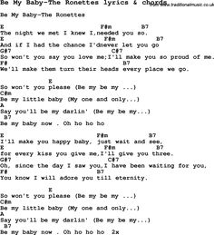 Love Song Lyrics for: Be My Baby-The Ronettes with chords for Ukulele, Guitar Banjo etc.
