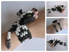 Rainbow Loom 3D COW bracelet. Designed and loomed by Nancy at Loombicious. Click photo for YouTube tutorial. 10/20/14. Crazy Loom Bracelets, Loom Bracelet Patterns, Rainbow Loom Bracelets, Rainbow Loom Tutorials, Rainbow Loom Patterns, Rainbow Loom Creations, Rubber Band Crafts, Rubber Bands, Rainbow Loom Animals