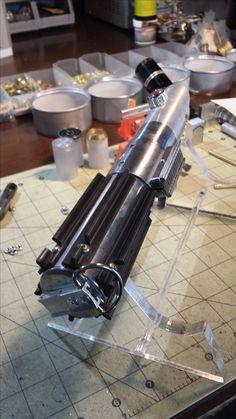 MHS Graflex Custom Lightsaber Build. Build moving along! Grips, D-ring, Clamp and Card.