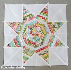 String Star Tutorial - This is make with scraps - A fun, mostly mindless block.