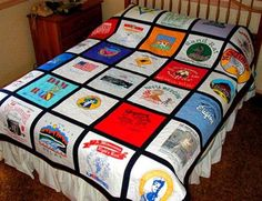 Quilt using teeshirts. Good for all the kids sports, camp, etc. shirts.