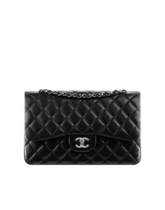 Chanel Classic Flap Bag - Black caviar leather, silver hardware