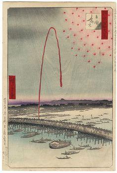 """Fireworks at Ryogoku"" by Hiroshige (1797 - 1858); Japanese woodblock print. Bidding starts at just $89! #japan #art #print #beautiful #fireworks"