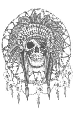 Native Indian Skull With Feathers Head Indian Tattoo Design : Indian Tattoos Tinta Tattoo, Desenho Tattoo, American Indian Art, Native American Indians, Native American Drawing, Native Indian, Pale Tumblr, Indian Headress, Indian Feathers