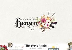 Arrow Logo Rustic Floral Bouquet Logo Design #photography #branding #website #blog
