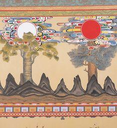 사단법인 한국 전통 민화 연구소 Korean Art, Asian Art, Korean Tattoos, Kids Room Murals, Korean Painting, Concept Board, Korean Traditional, New Theme, Textile Design