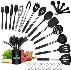 Silicone Kitchen Utensils, Cooking Utensils Set, Kitchen Utensil Set, Kitchen Dining, Must Have Kitchen Gadgets, Cookware, 30, Safe Food, Halter